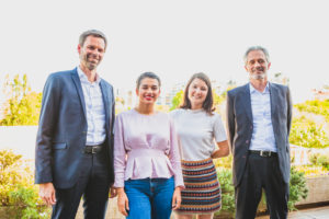 Xavier Jombart, Head of Change Management at BNP Paribas, Mursal Hedayat and Guillemette Dejean, Co-Founders of Chatterbox and Fabrice Segui, CEO of BNP Paribas Portugal.