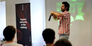 Jordan, co-founder of SitEinander, at the Pitch Practice of Maze X, the impact startup accelerator