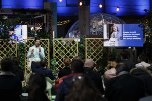 Christoph Hantschk, founder and CEO of goodbag, a participant from the first cohort of Maze X, the european impact startup accelerator, pitching at Change NOW 2020 in Paris