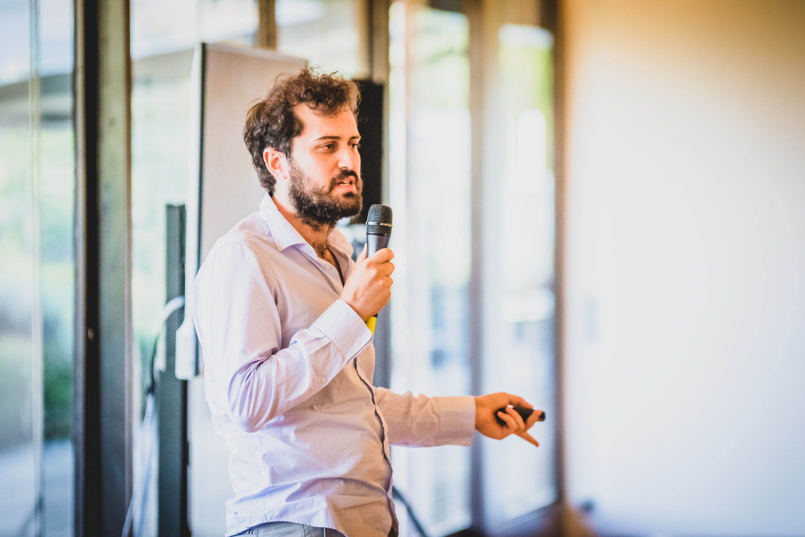 Bernardo, founder and CEO of MyPolis, at the Demo Day of Maze X, the pan-european impact startup accelerator based in Lisbon, in May at the Calouste Gulbenkian Foundation