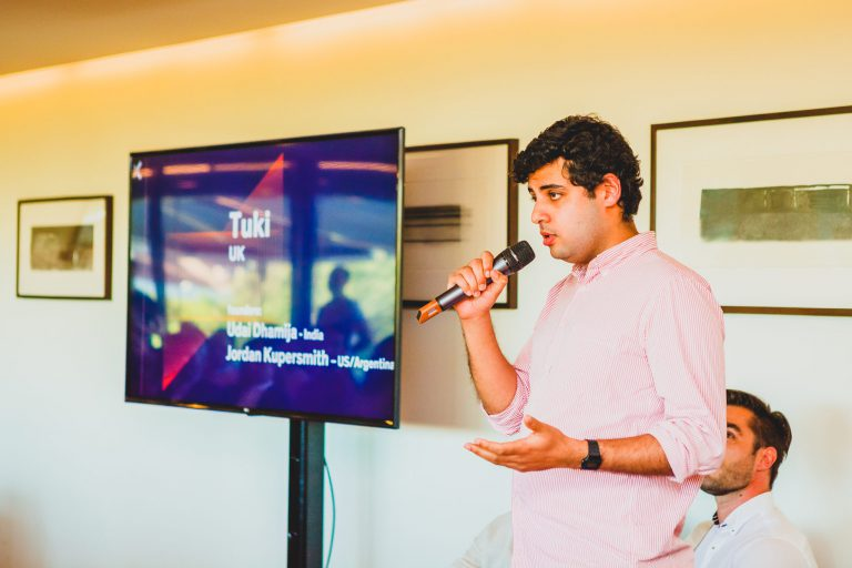 Udai D., founder and CEO of Tuki, at the launch event of Maze X, the pan-european impact startup accelerator based in Lisbon, in May at the Calouste Gulbenkian Foundation